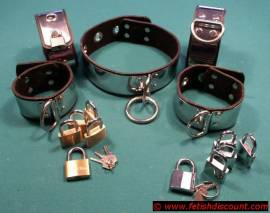 Edelstahl Fesselset mit Lederfutter,abschließbar - lockable stainless steel cuffset - Bild vergrößern