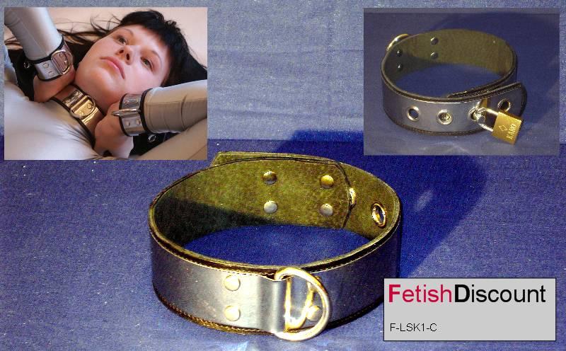 Abschließbares Halsband aus Edelstahl  Leder / Lockable stainless steel collar
